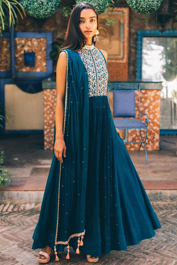 Blue and Pink Anarkali