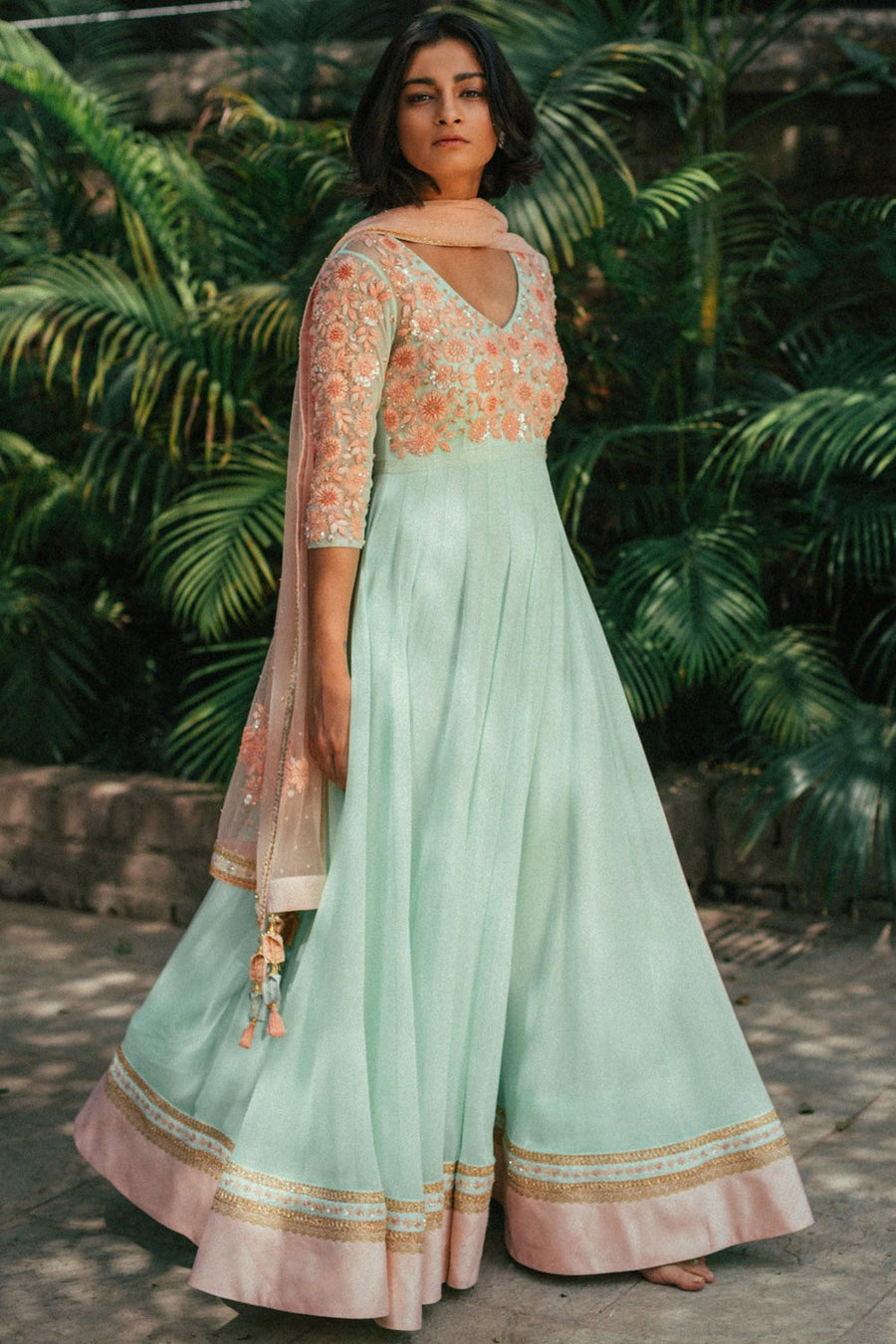 Mint Flared Anarkali