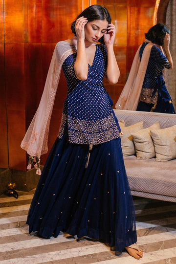 Navy Kurta and Sharara Set