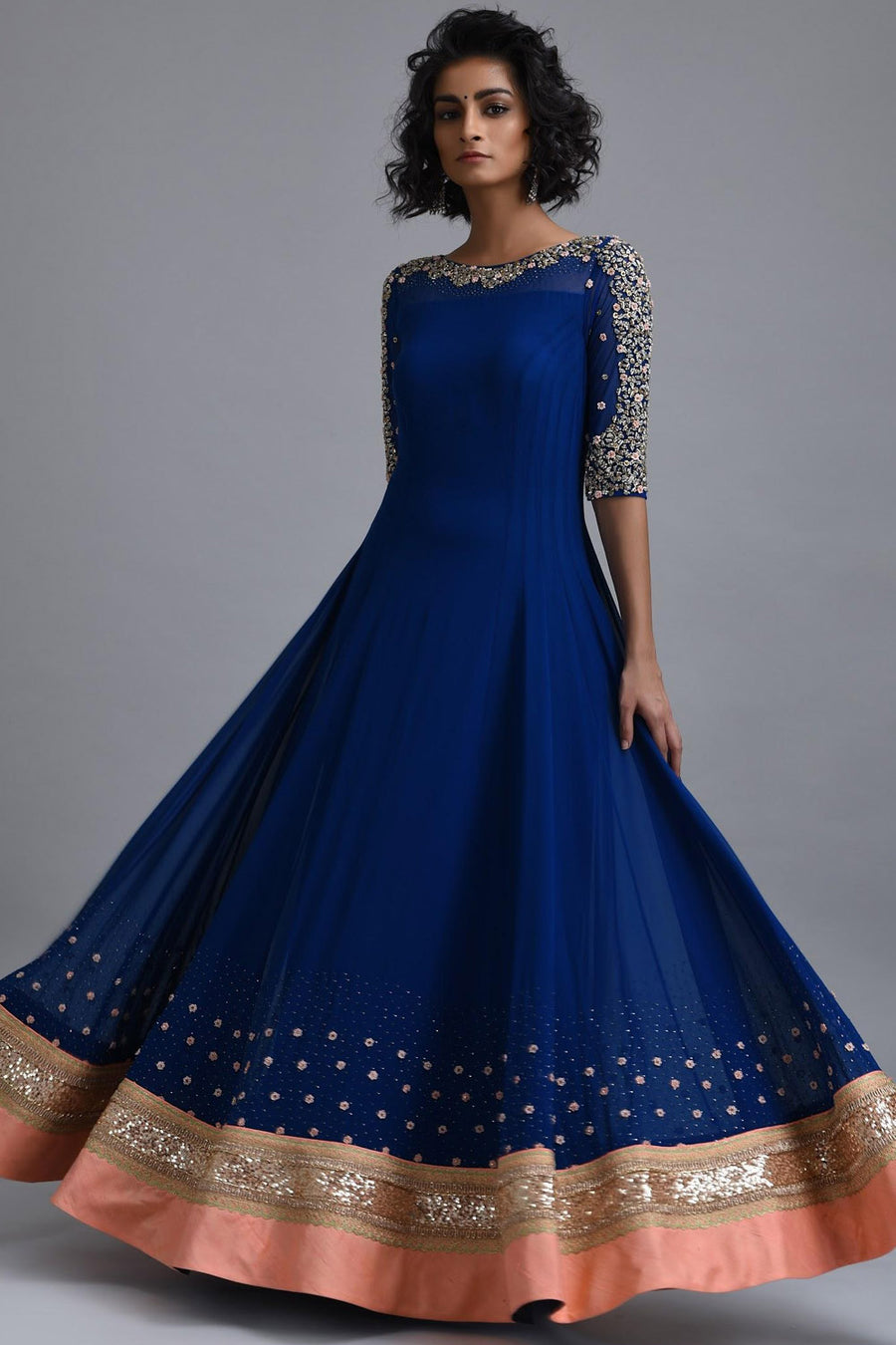 Dragonfly Blue Anarkali Gown