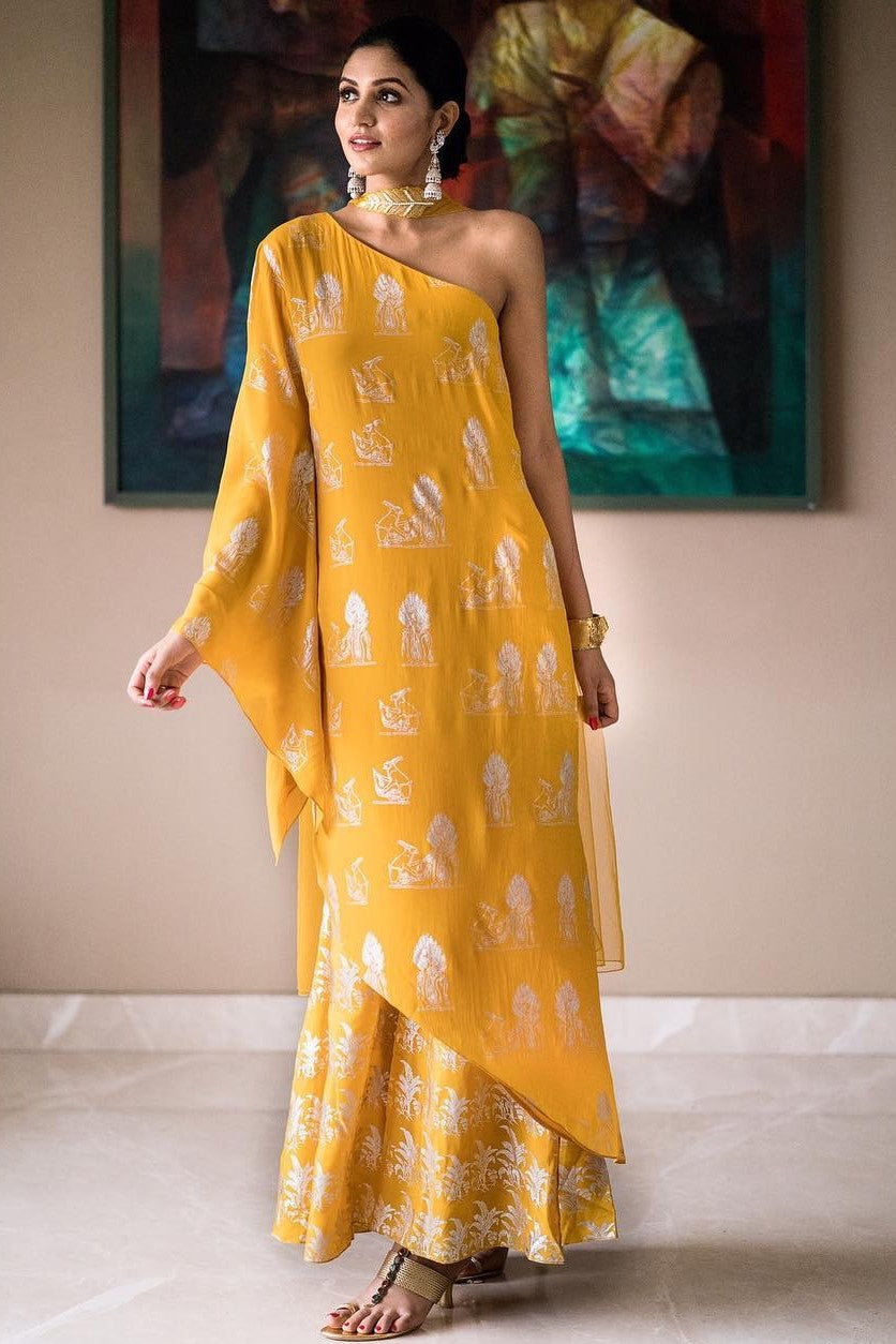 Yellow One Shoulder Tunic and Palazzo