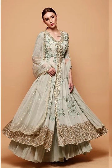 Powder Blue Anarkali Jacket