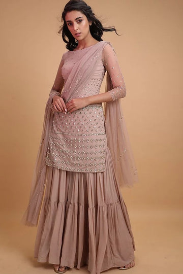 Onion Pink Kurta and Garrara Set