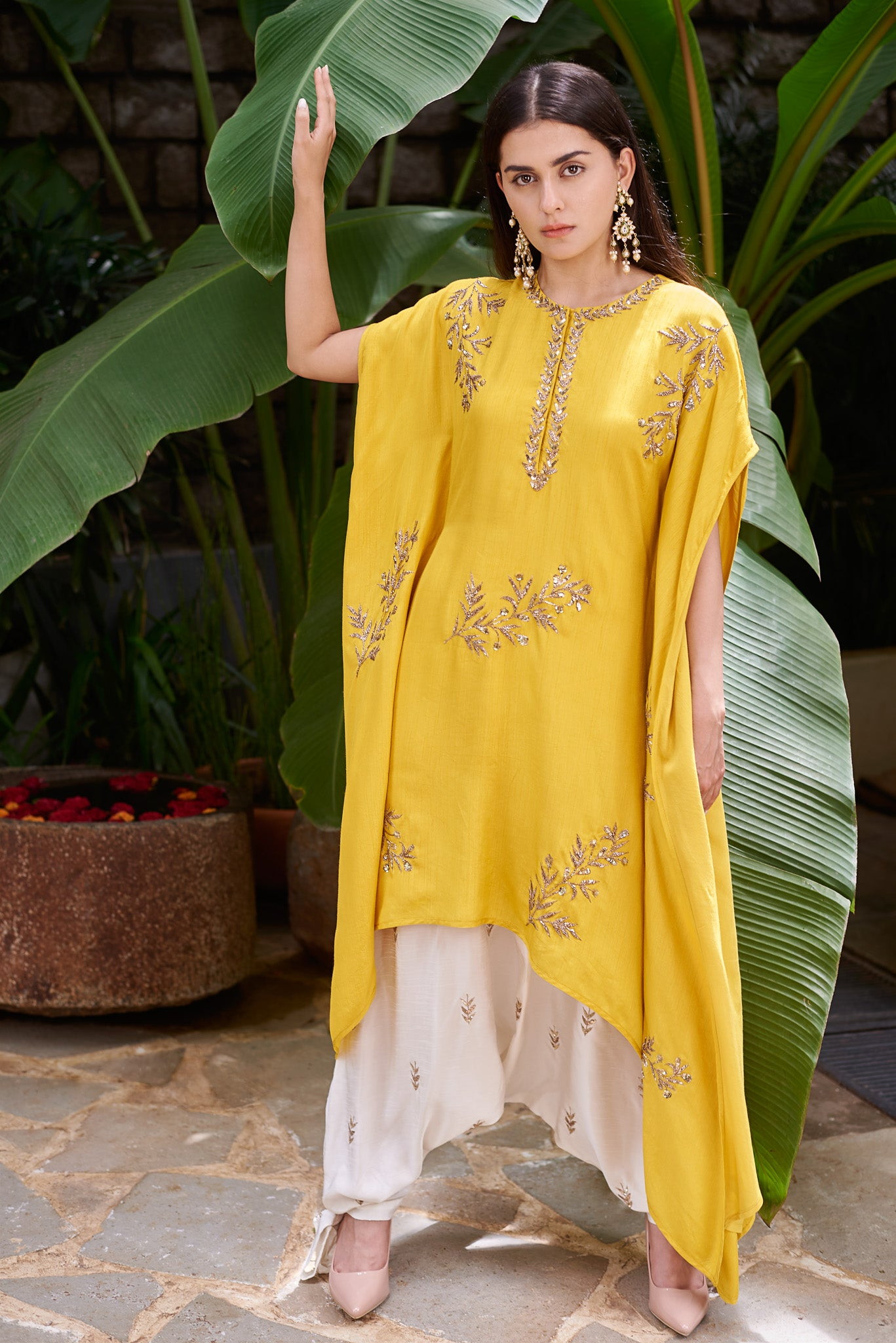 Mustard Kaftan and Harem Pants