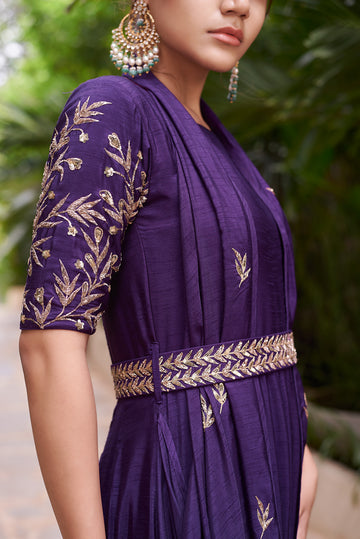 Purple Drape Around Belted anarkali