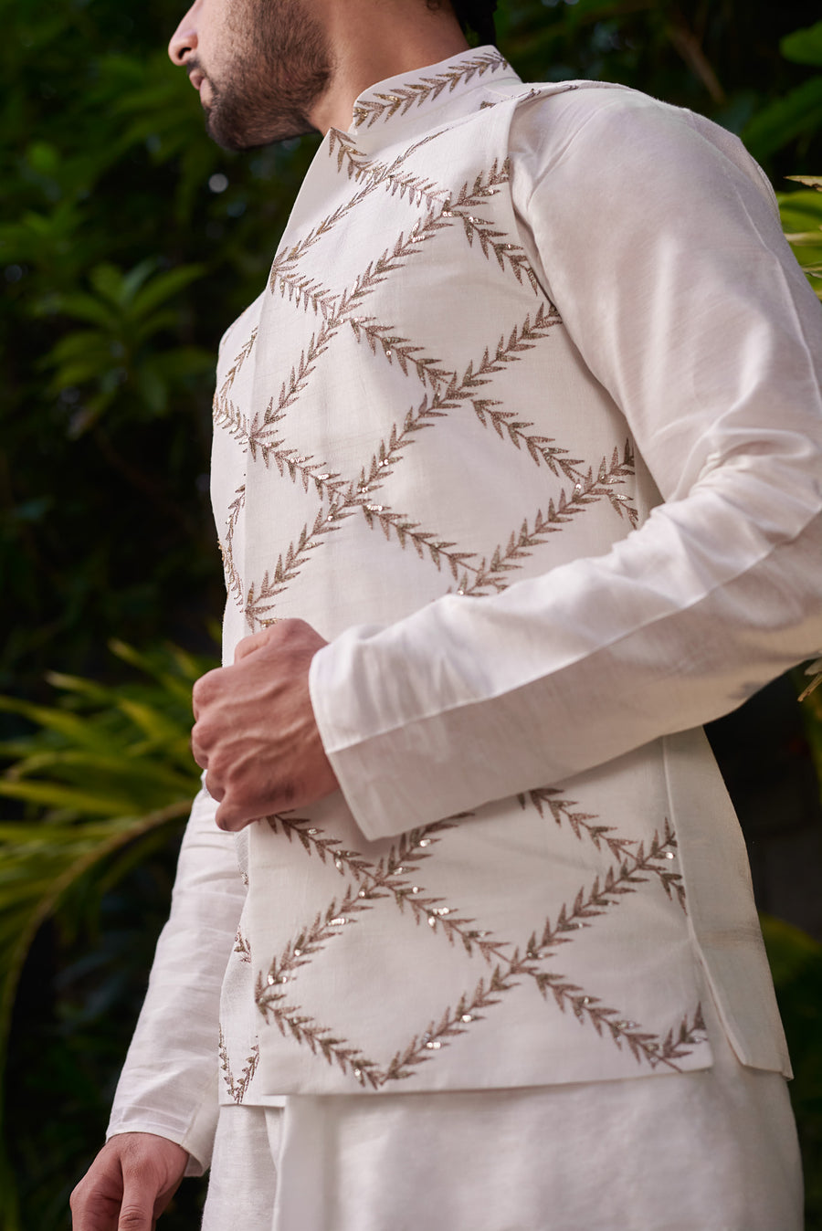 White Jacket and Kurta Set