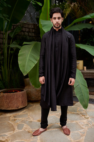 Black Cowl Cape Kurta and Churidar