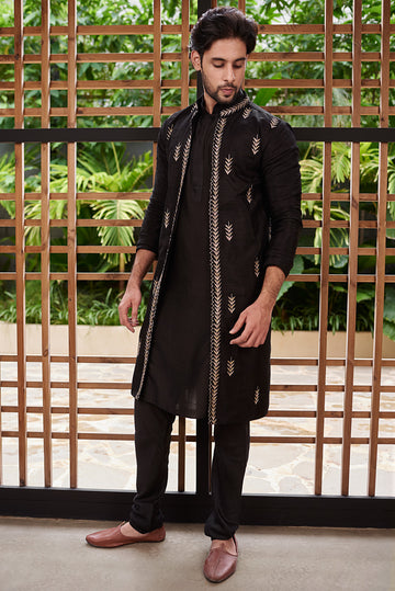 Black Open Jacket and Kurta Set