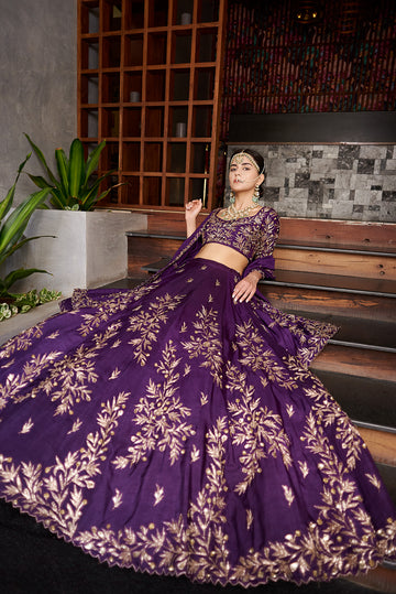 Purple Raw Silk Embroidered Lehenga