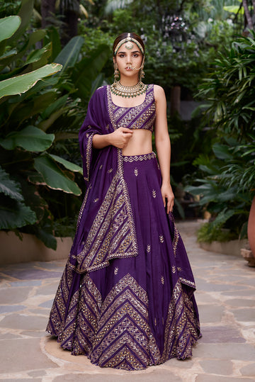Purple Chevron Lehenga Set