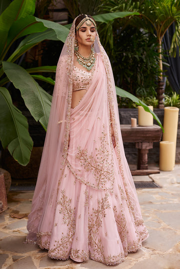 Pink Cross Embroidered Lehenga Set