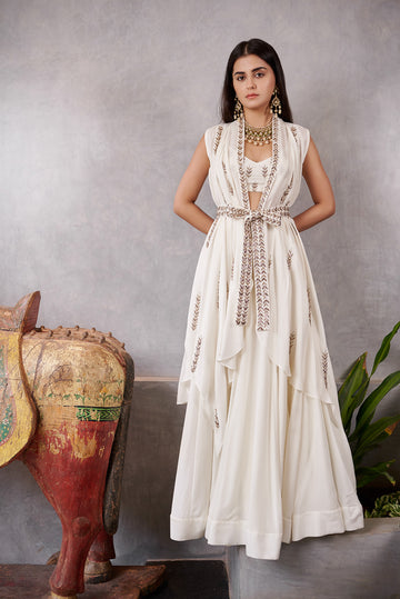 Ivory Arrow Embroidered Jacket and Skirt