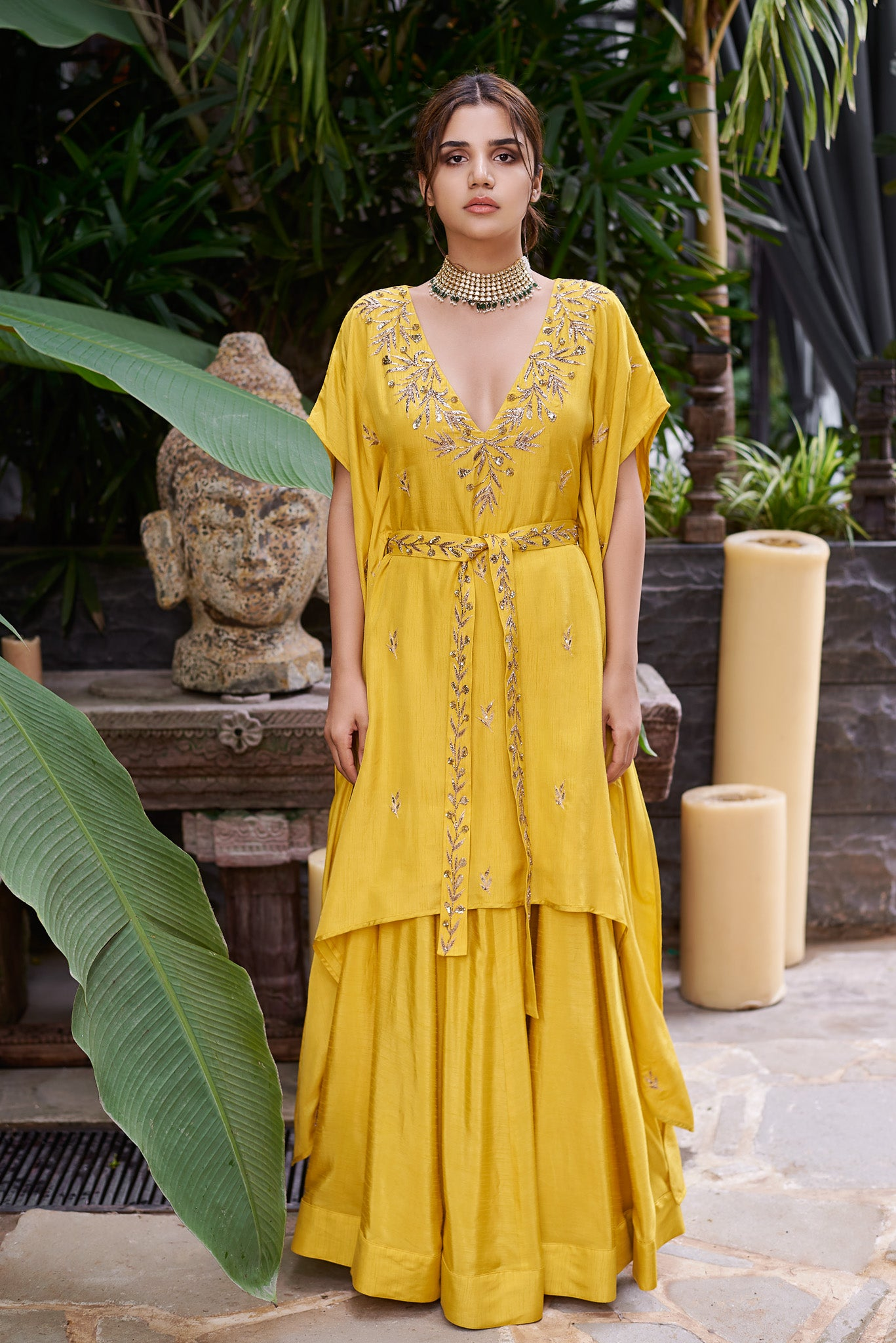 Mustard Belted Kaftan With Skirt