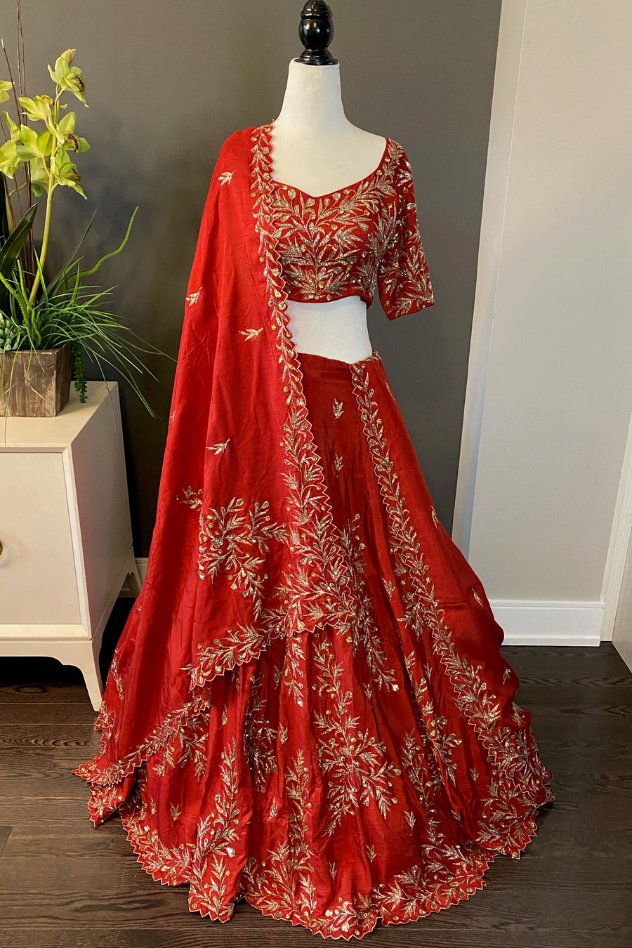 Burnt Red Bridal Lehenga