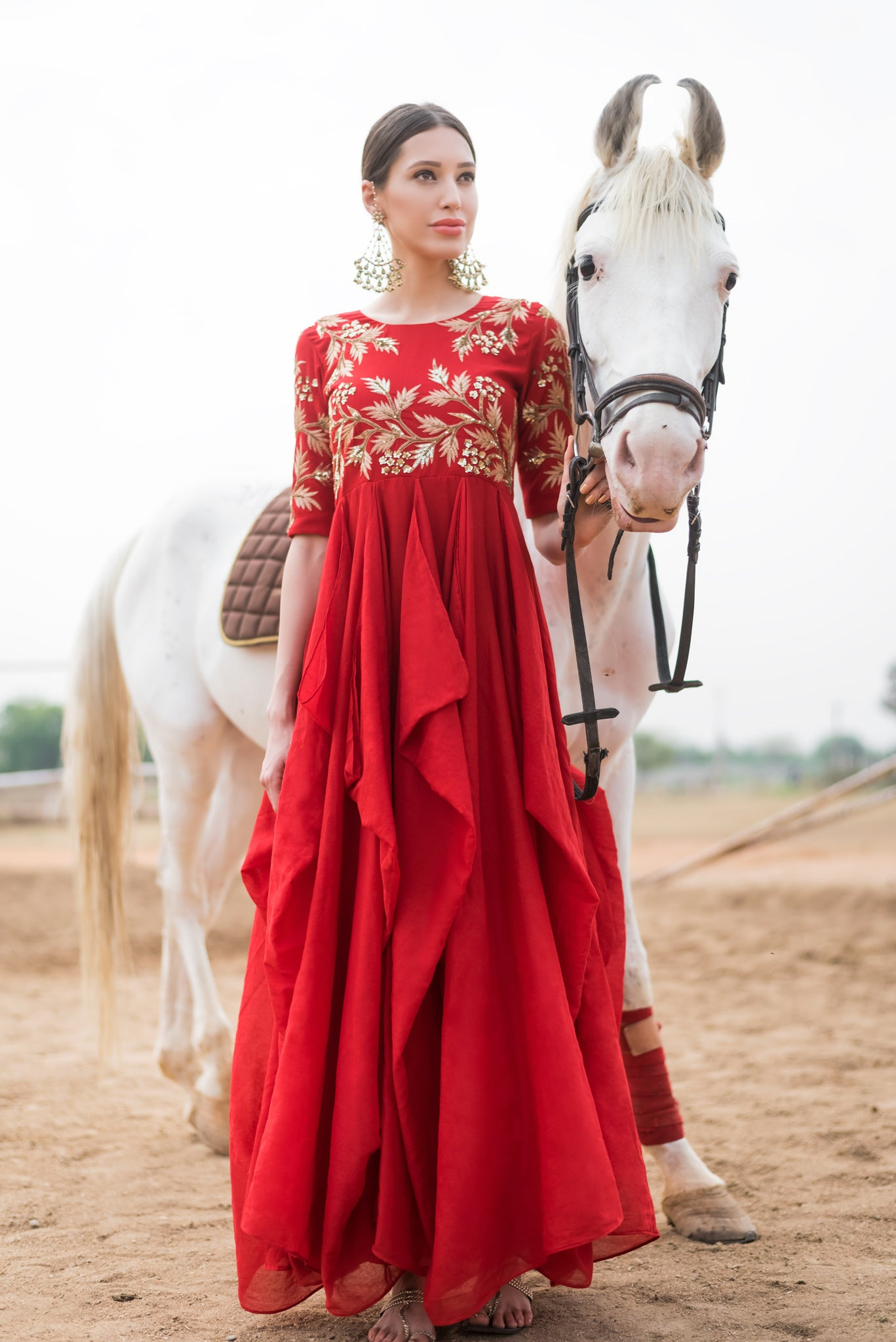 Red Waterfall Drape Gown