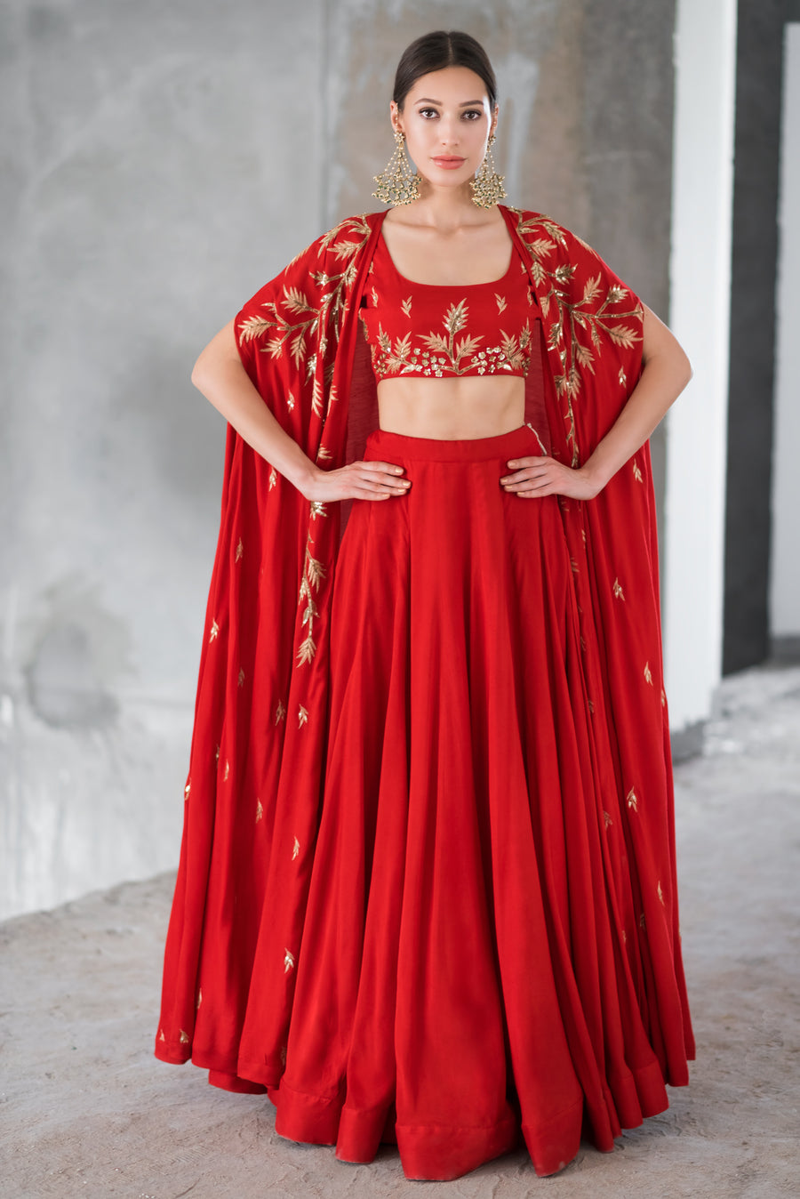 Red Lehenga and Embroidered Cape Set