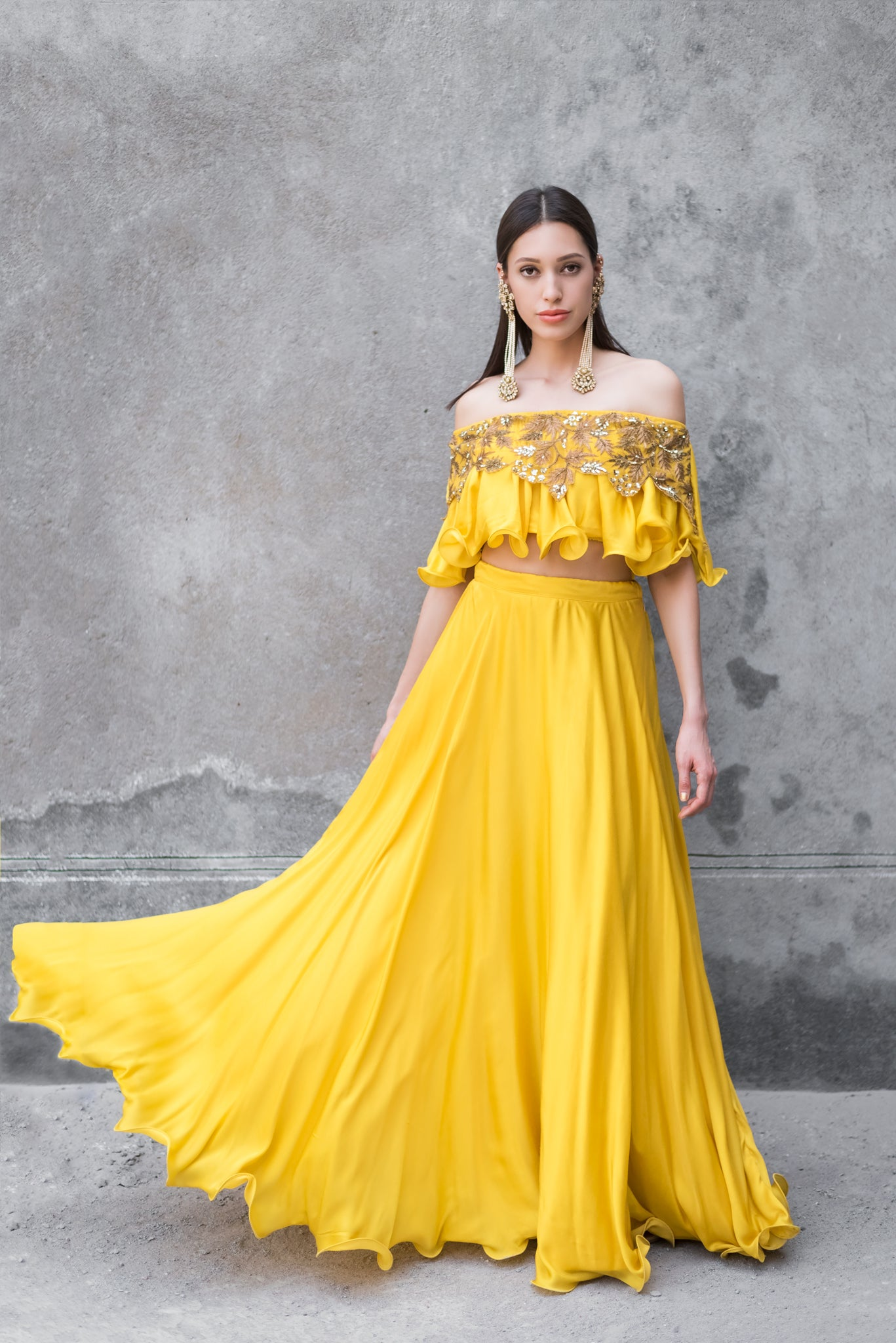 Mustard Off Shoulder Lehenga Set