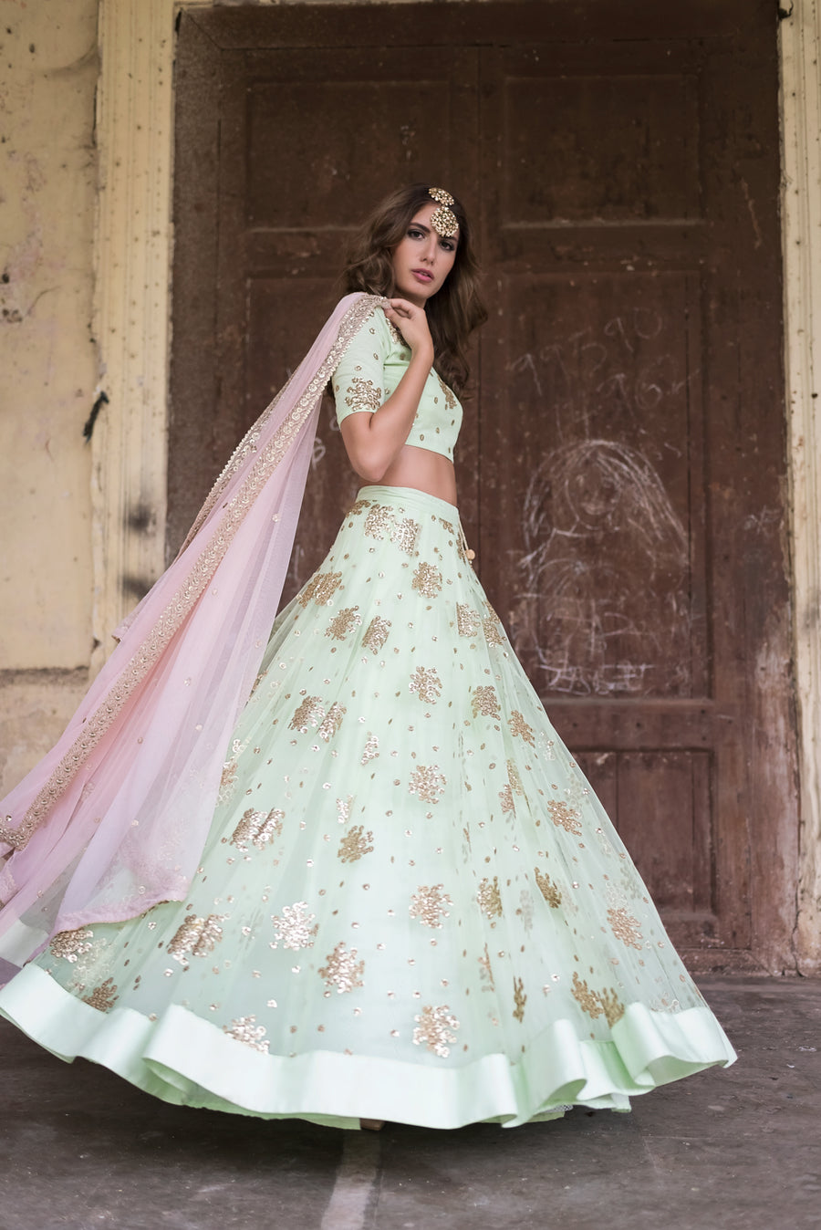Mint Green Round Sequin Lehenga Set
