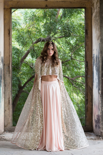 Pink Embroidered High Low Top and Lehenga Skirt