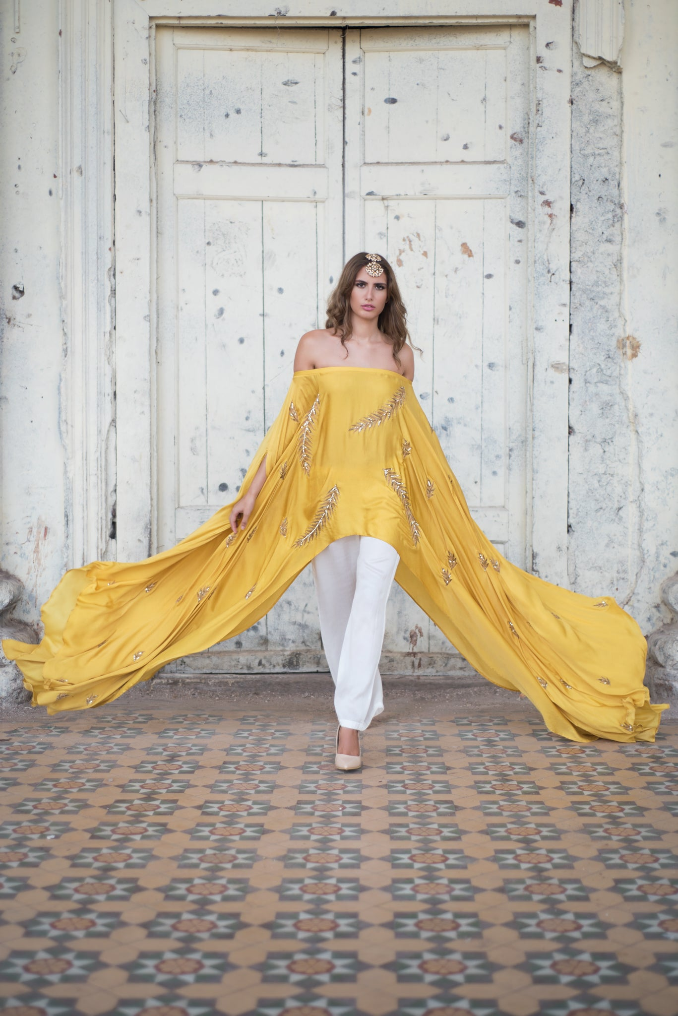 Mustard Off Shoulder Cape Set