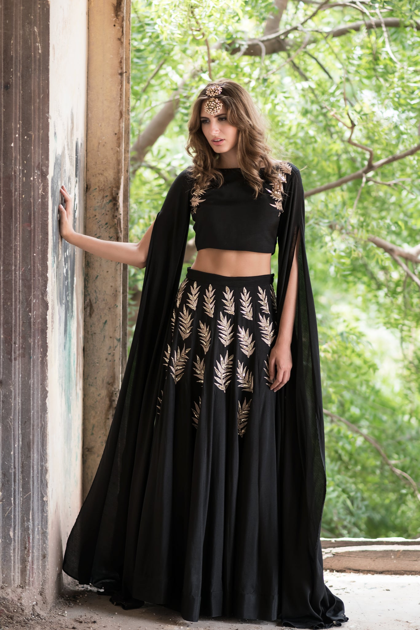 Black Embroidered Cape Lehenga Set