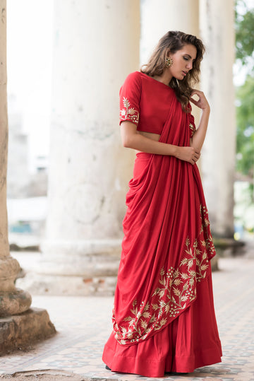 Red Embroidered Drape Lehenga Set