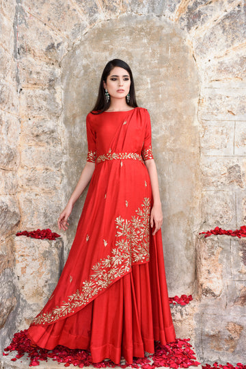 Red Anarkali with Drape and Belt