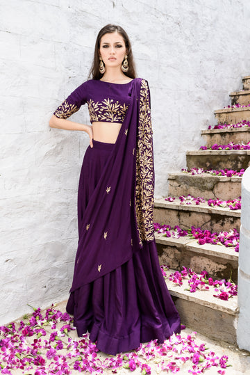 Purple Drape and Skirt Set