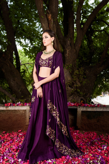 Purple Lehenga with layered cape