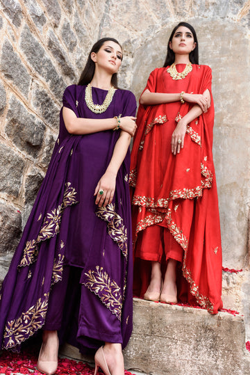 Purple Kurta Palazzo and Cape Set