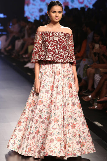 Payal Singhal dark pink embroidered off-shoulder top with chidiya print dupion silk skirt.