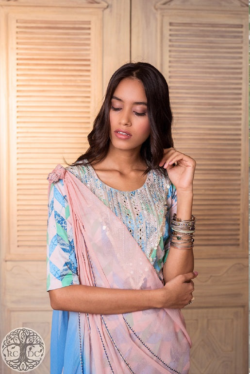 Pastel Shaded Modern Saree