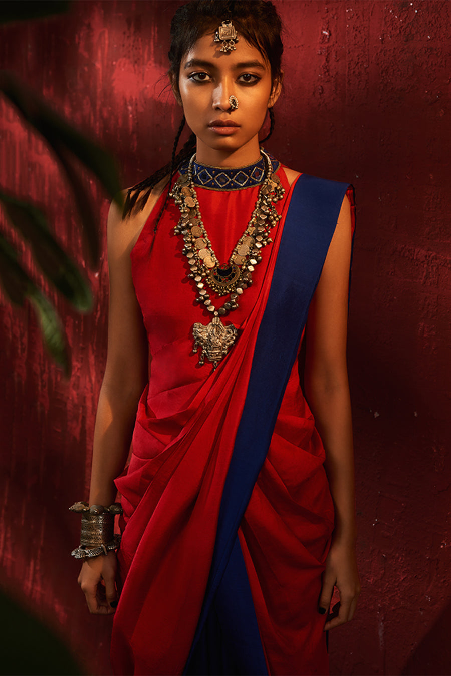 Roshni Chopra red and blue pre draped saree.