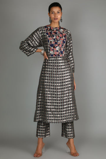 Black Jaali Print Kurta Set