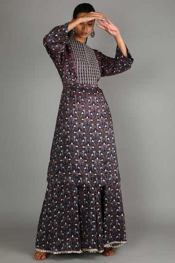 Merlot Geometric Damask Printed Sharara Set