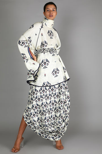 White Printed Turtleneck and Skirt Set