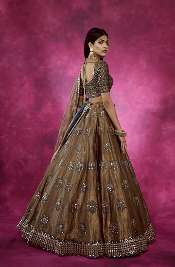 Copper and Teal Lehenga Set