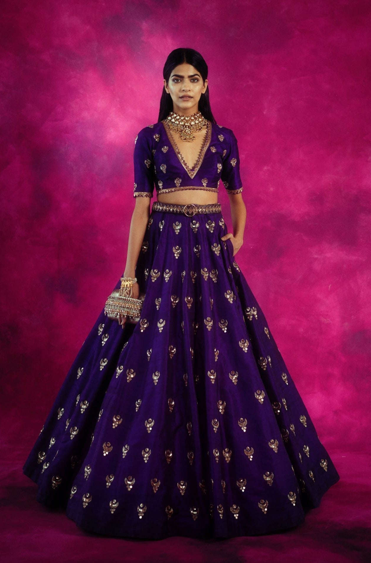 Purple Embroidered Skirt Set
