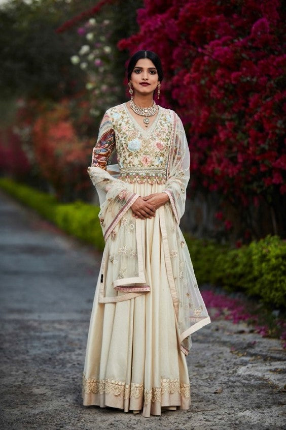 Beige Embroidered Anarkali Set