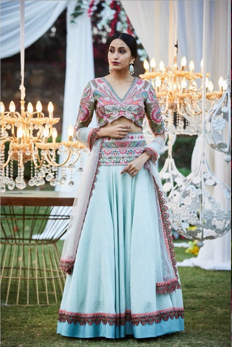Duckegg Blue Lehenga with Butterfly Blouse