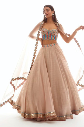 Beige Embroidered Corset Blouse Lehenga