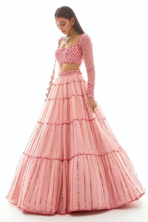 Pink Embroidered Tiered Lehenga