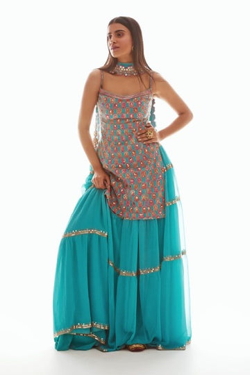 Aqua Blue Sharara Set