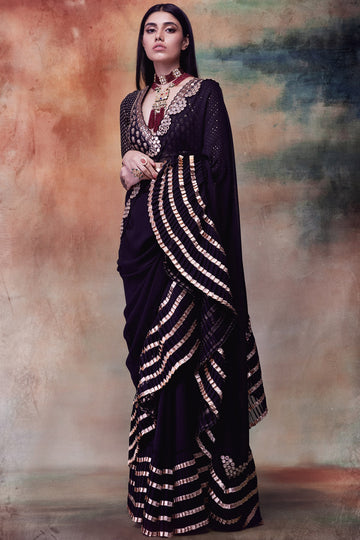 Black Saree with Ruffle Border