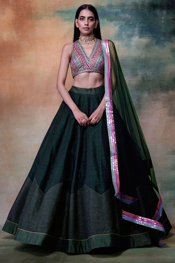 Bottle Green Lehenga with Multicoloured Blouse