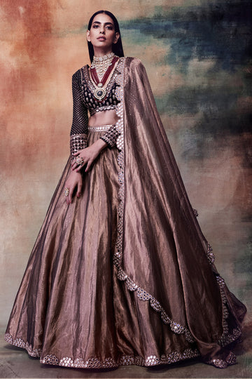 Copper and Black Lehenga Set