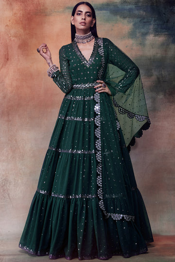 Dark Green Tiered Anarkali