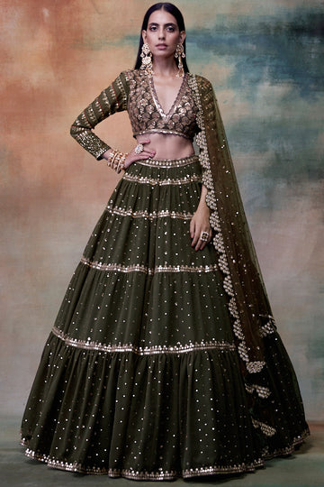 Olive Green Tiered Lehenga with Embroidered Blouse