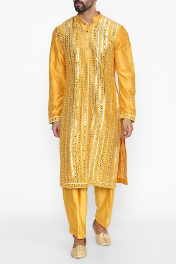 Yellow Embellished Kurta Set