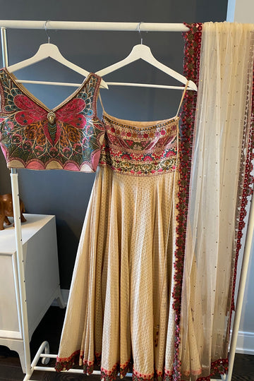 Beige Lehenga with Butterfly Blouse